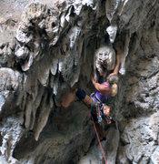 Rock Climbing Photo: Nathalie C. Grabbing El Jaguar