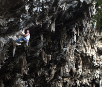 Rock Climbing Photo: Jaime Velasco in middle of route on a good seat...