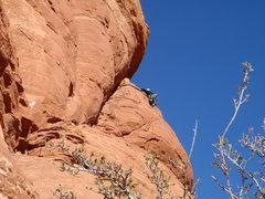 Rock Climbing Photo: Not the recommended way! Follow the huge ledge bel...
