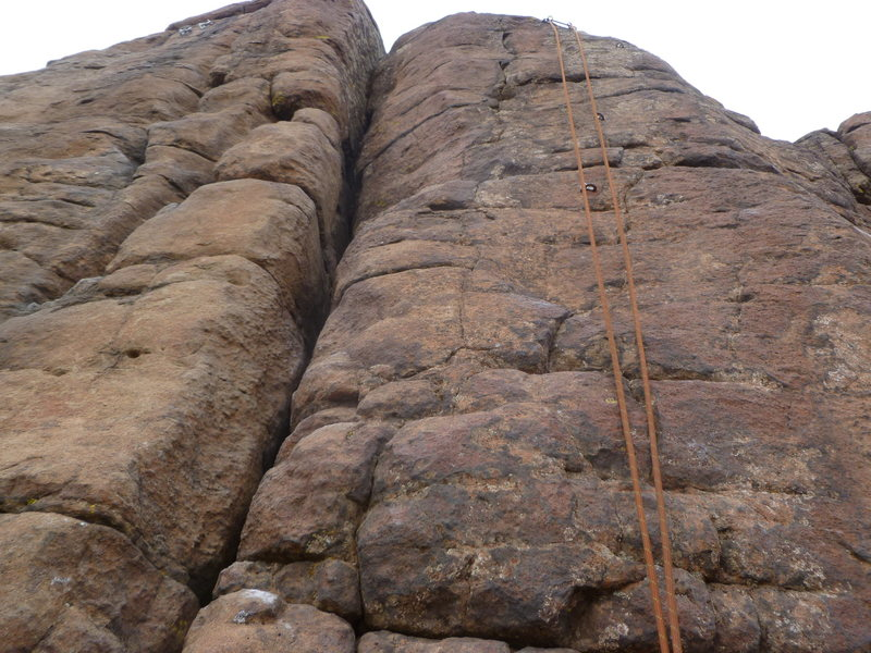 A close up of the route, where the rope is hanging.