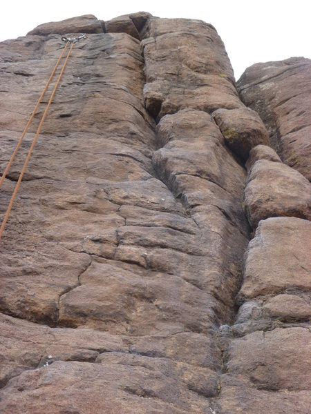 Rock Climbing Photo: The crack is in the middle, the rope is on the Int...