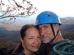 Rock Climbing Photo: Robin and me at Tablerock, NC.