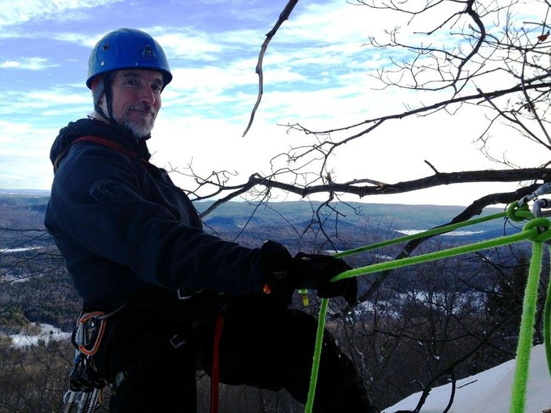 On rappel at the <b>Wild West Wall</b>.