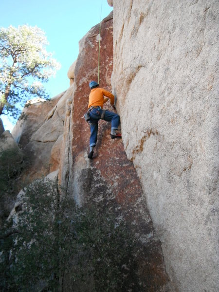 Galen Vansant liebacking his way up Heavy Gold 5.10a