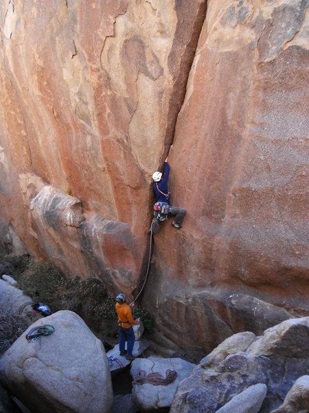 Rob Beno climbing Hand Grenade 5.10a