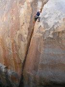 Rock Climbing Photo: Rob Beno above the crux on Hand Grenade 5.10a