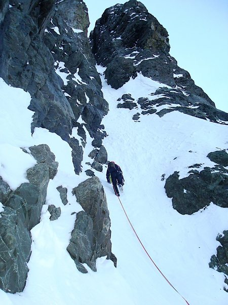 Rock Climbing Photo: Richard on the entrance of the couloir