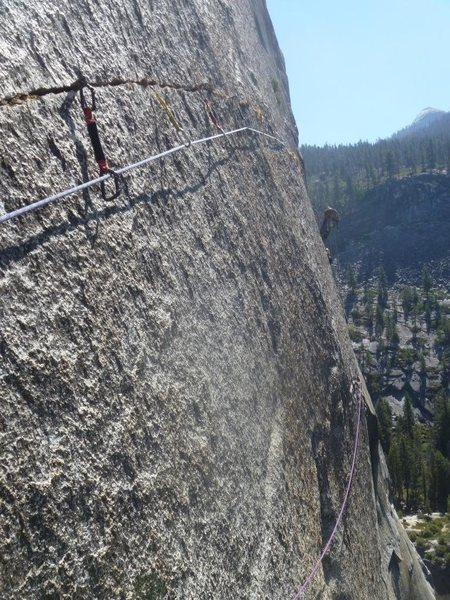 Rock Climbing Photo: Crack of God pitch 8 100' splitter horizontal.  Th...