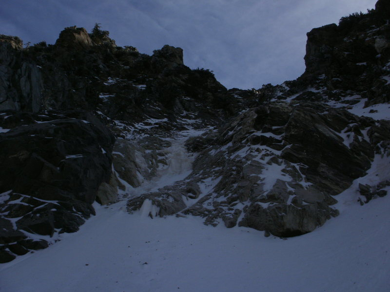 The small ice fall about 100' up the couloir.