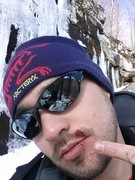 Rock Climbing Photo: My ice tool popped and I caught the hammer side in...