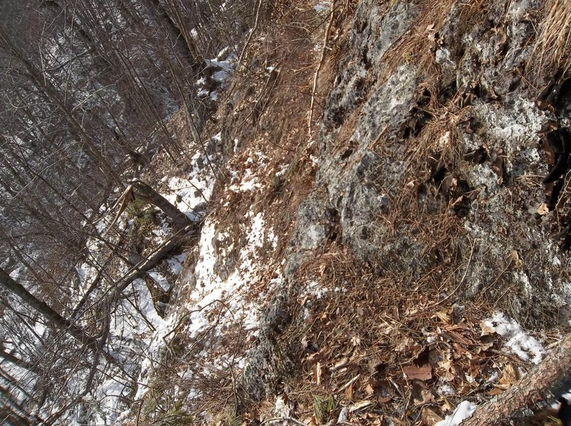 Looking down from belay ledge.