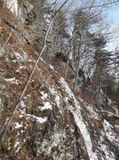 Rock Climbing Photo: Belay could be at the block crack before the ice c...