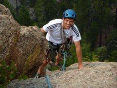 Rock Climbing Photo: Approaching top of p1 of Sorcerer