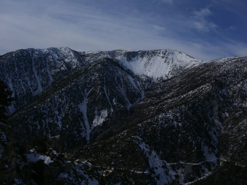 The view from the top: Mt San Antonio and the Baldy Bowl.