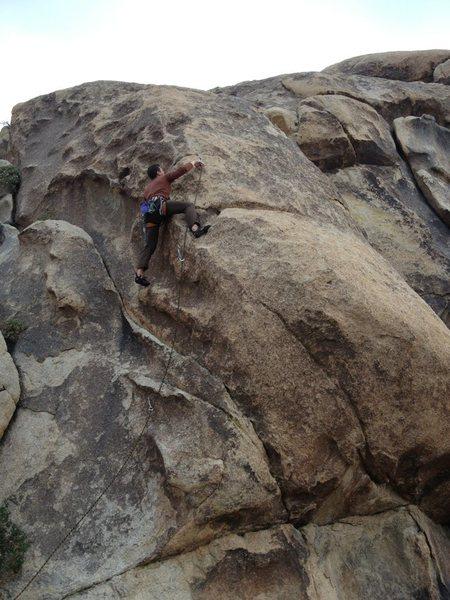 Rock Climbing Photo: Matt leading the Wiener Inspector.   I am doing my...