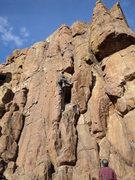 Rock Climbing Photo: Kean climbs higher.