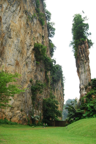 Rock Climbing Photo: The Mammut wall in Tambun on the left. On the righ...
