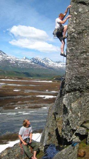 Climbing the edge.