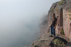 Rock Climbing Photo: Me on top of Danger High Voltage when some fog rol...