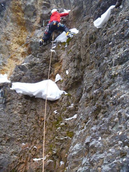Rock Climbing Photo: Eduardo Ibañez starting the second pitch of Attra...
