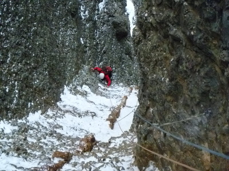 Rock Climbing Photo: Belaying from top of pitch 7 looking down, Santiag...