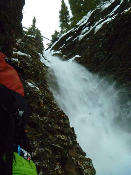 Rock Climbing Photo: There was a lot of snow accumulation at the top an...