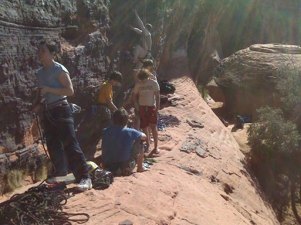 Bunch of climbers working on the routes at the Gallery.