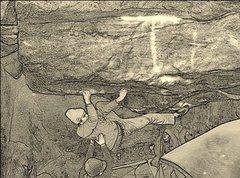 Rock Climbing Photo: Crux cross move