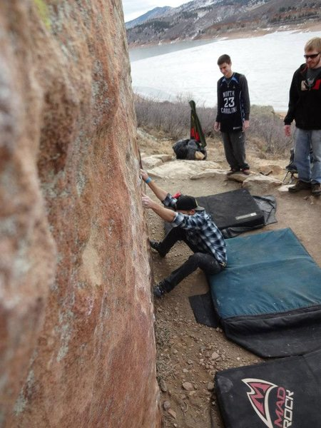 Rock Climbing Photo: Sit start for My Two Cents.