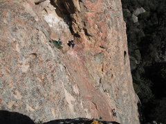 Rock Climbing Photo: A party of three unknown climbers at the first bel...