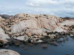 Rock Climbing Photo: Lakeside Rock from atop Rat Rock, Joshua Tree NP