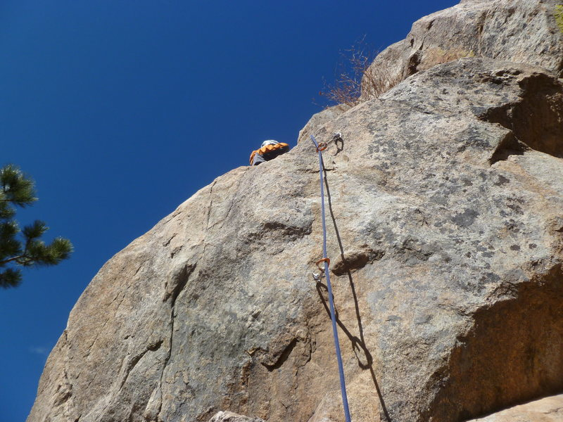 The first two bolts at the crux bulge.