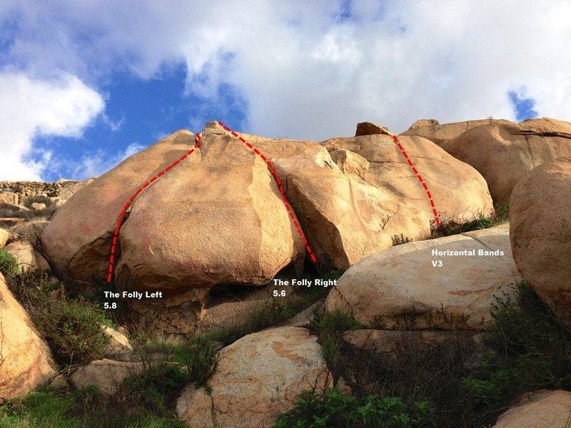 Rock Climbing Photo: Folly Boulder Topo