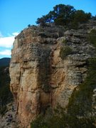 Rock Climbing Photo: Follow the red line up the dihedral crack.