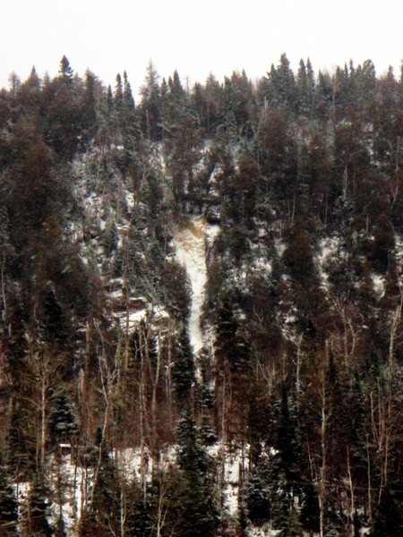 Rock Climbing Photo: Shot of route from the road. You can really only s...