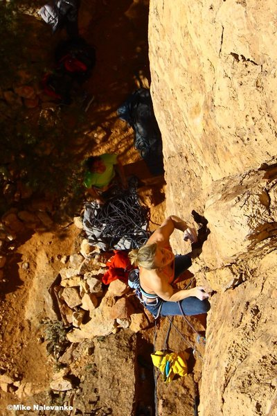 Rock Climbing Photo: Mirthe on the different start.