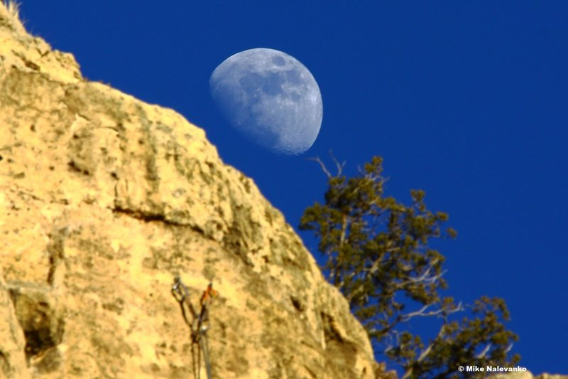 Rock Climbing Photo: Moon over Fantasia anchors.