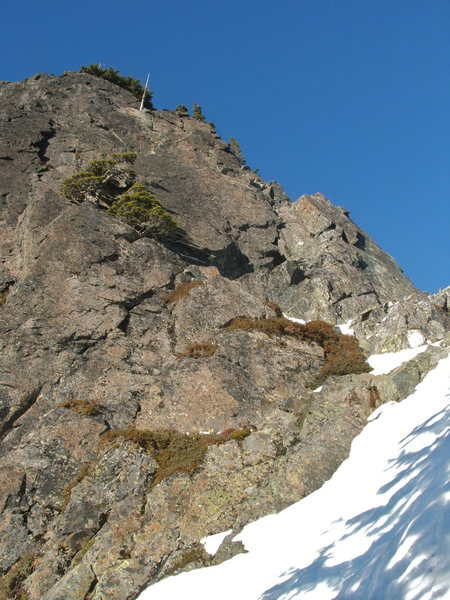 View of the South Face Route on The Tooth 5.4 viewed from the base.
