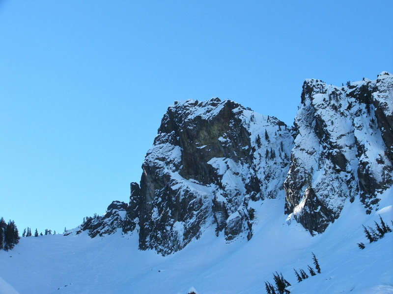 Early Morning view of The Tooth in January.  South face route goes up left side of silhouette more or less.