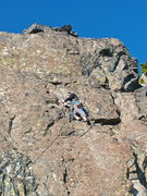 Rock Climbing Photo: Mason on the Third Pitch of South Face 5.4