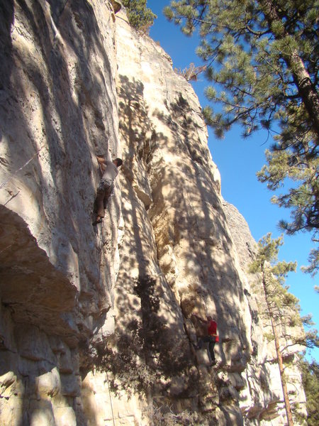 Carl on TKO. Climber in red is on Albert's Arete.
