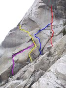 Rock Climbing Photo: Yellow = El Guapo Blue = El Pipedream Red = El Cho...