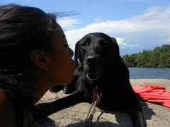 Rock Climbing Photo: Buddy the Dog, gettin' a kiss at Lake George.
