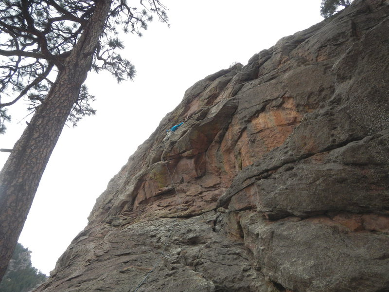On the first ascent.<br> The dihedral to the right of me is Genuine Risk.