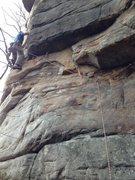 Rock Climbing Photo: Joe moving around the first arete.