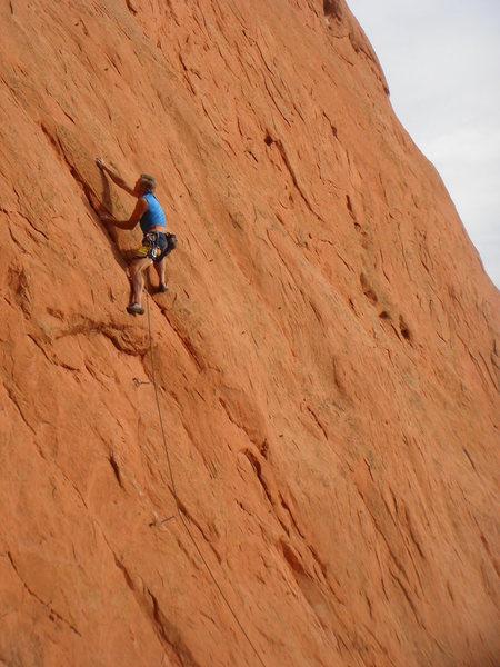Rock Climbing Photo: Bruce above the crux.
