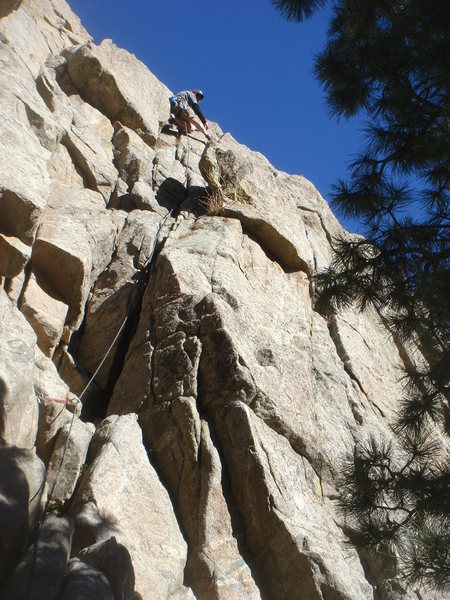 Rock Climbing Photo: Steve leading the gully.