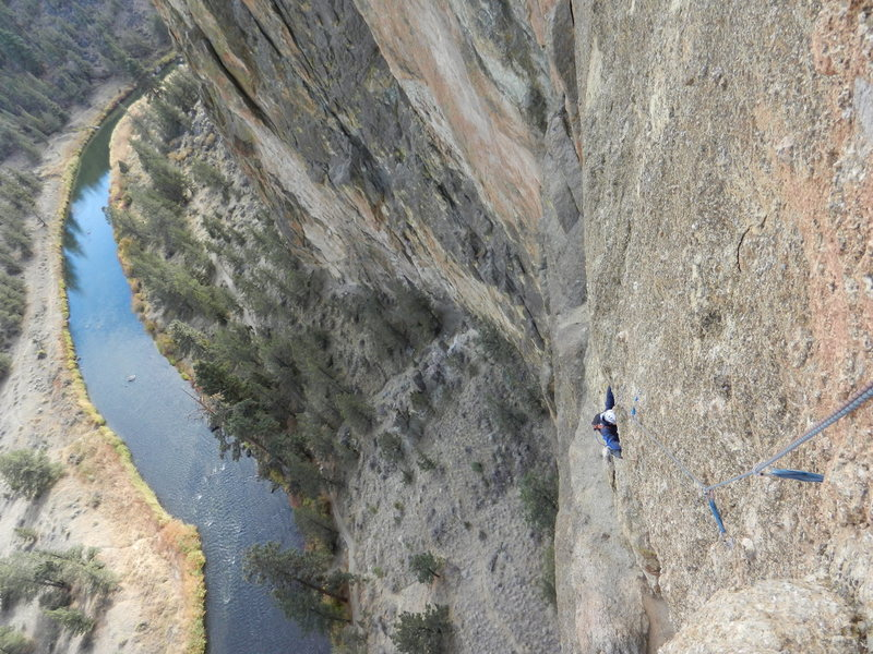 Rock Climbing Photo: Top of the 2nd pitch looking down.   My partner is...