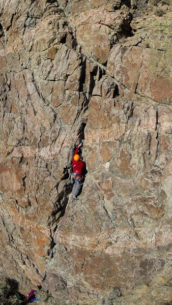 Rock Climbing Photo: Trad Lead, Lemon-aid - 5.10a R GoPro on Drone – A...