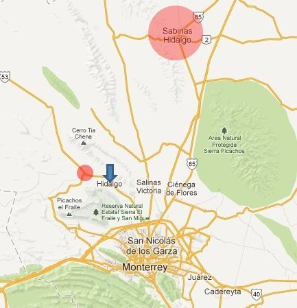 Rock Climbing Photo: Large Red Circle = Sabinas Hidalgo (where supposed...